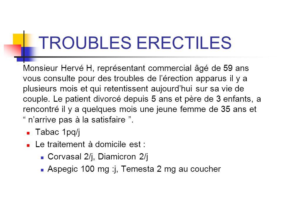 TROUBLES ERECTILES Tabac 1pq/j Le traitement à domicile est :