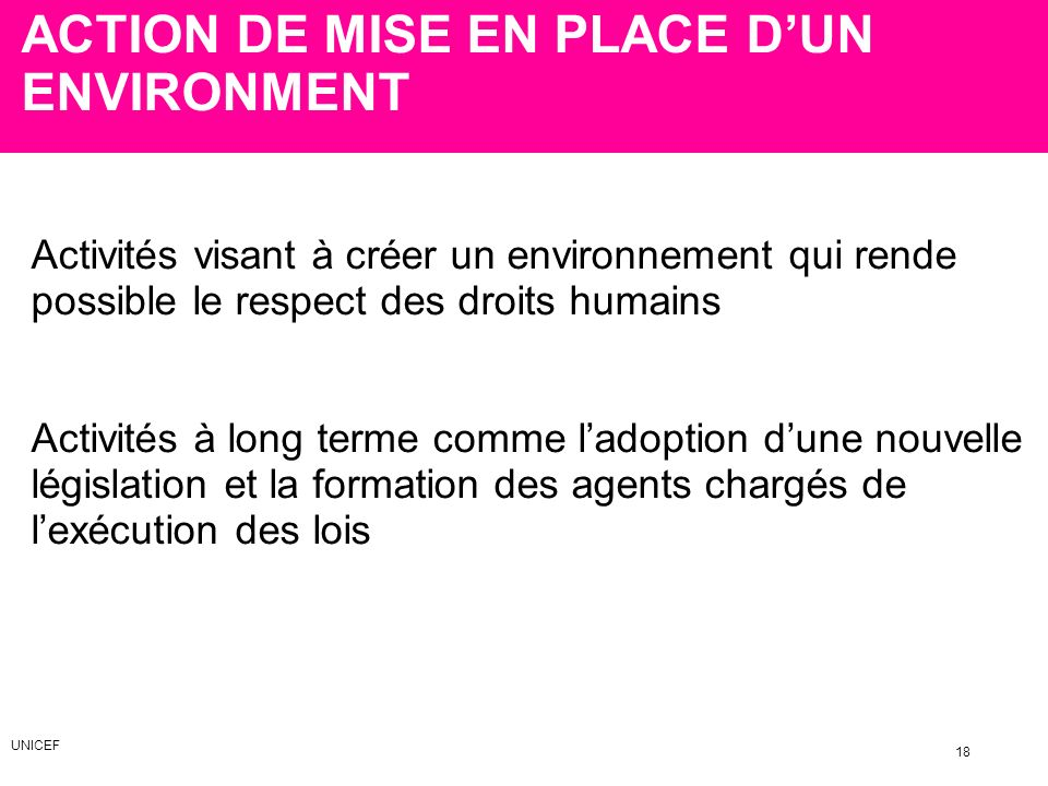 ACTION DE MISE EN PLACE D'UN ENVIRONMENT