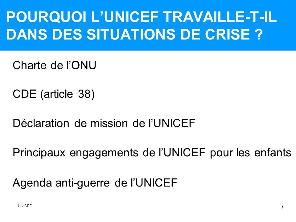 POURQUOI L'UNICEF TRAVAILLE-T-IL DANS DES SITUATIONS DE CRISE