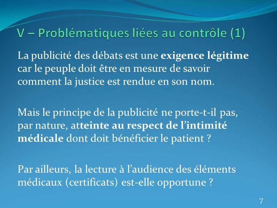 V – Problématiques liées au contrôle (1)