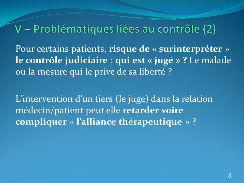 V – Problématiques liées au contrôle (2)