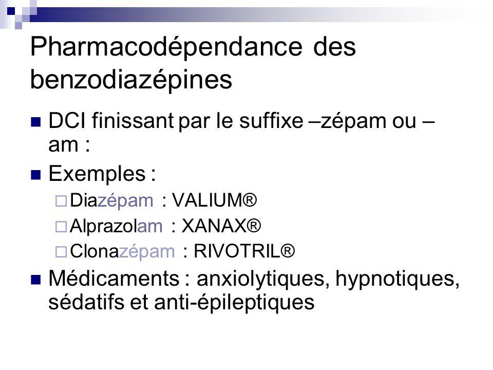 Pharmacodépendance des benzodiazépines