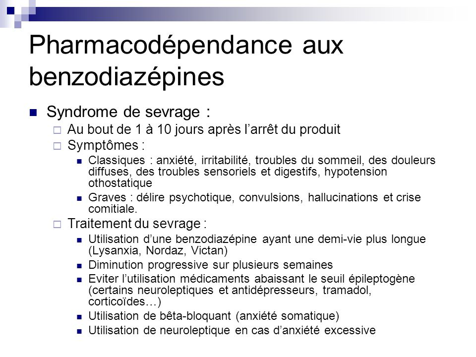 Pharmacodépendance aux benzodiazépines