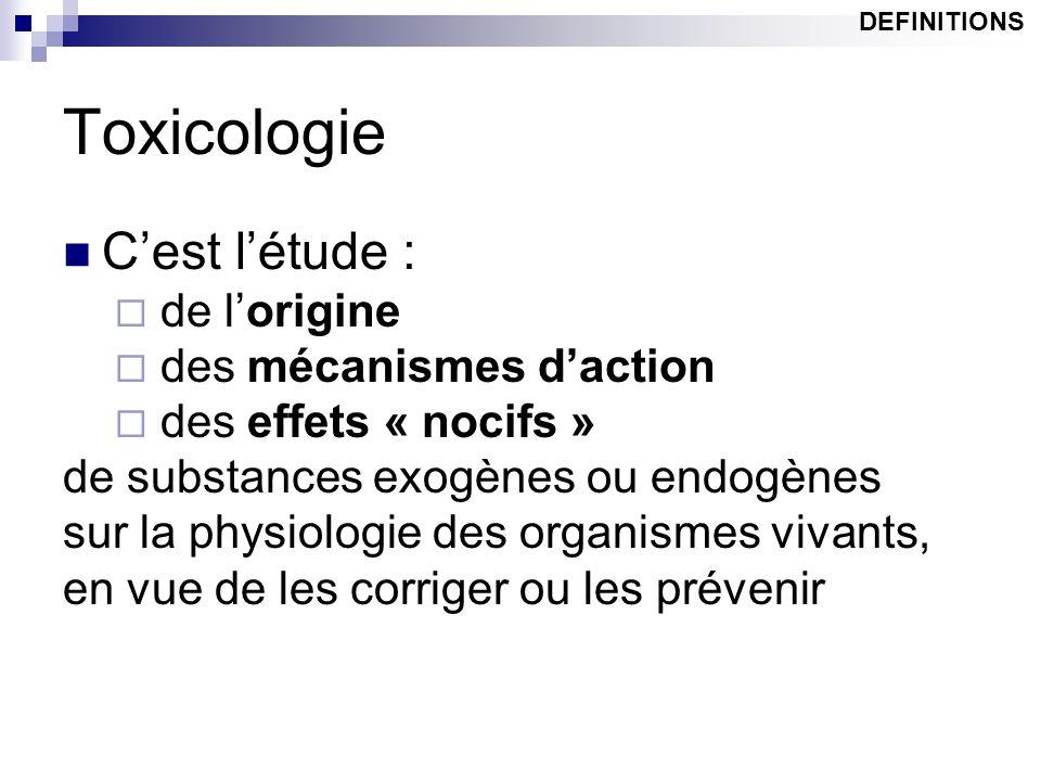 Toxicologie C'est l'étude : de l'origine des mécanismes d'action