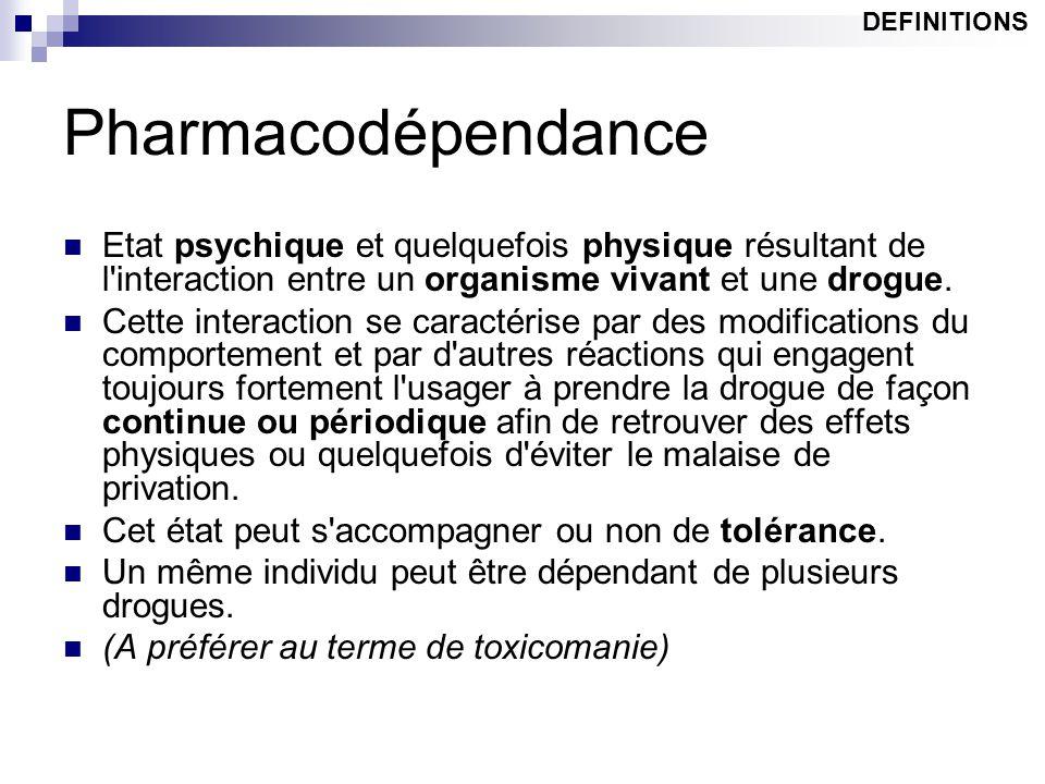 DEFINITIONS Pharmacodépendance. Etat psychique et quelquefois physique résultant de l interaction entre un organisme vivant et une drogue.