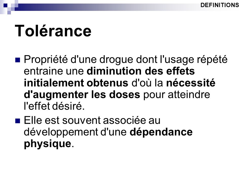DEFINITIONS Tolérance.