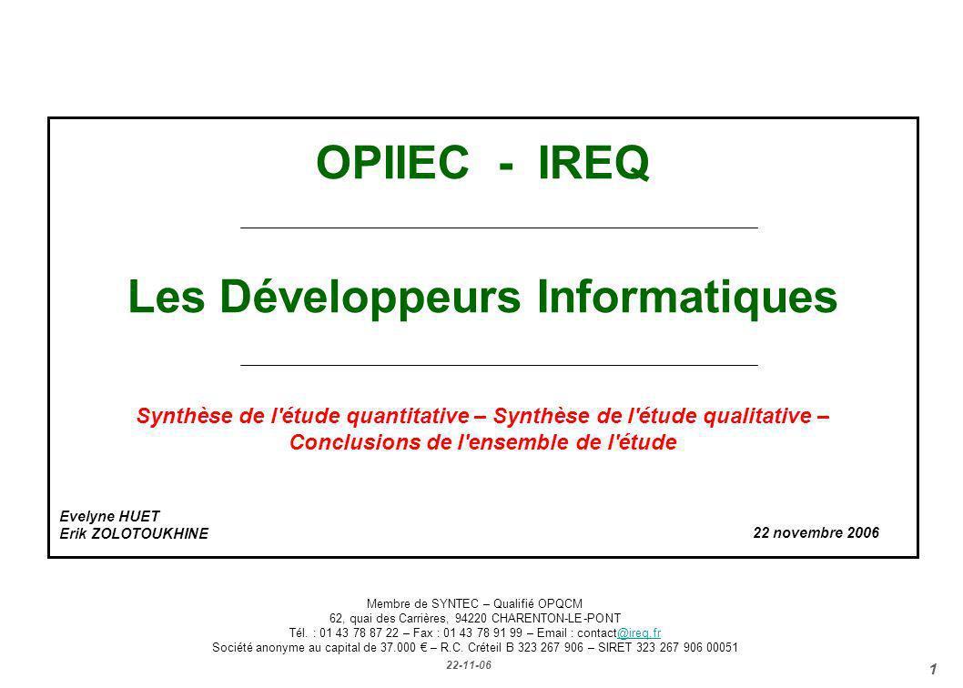 OPIIEC - IREQ Les Développeurs Informatiques