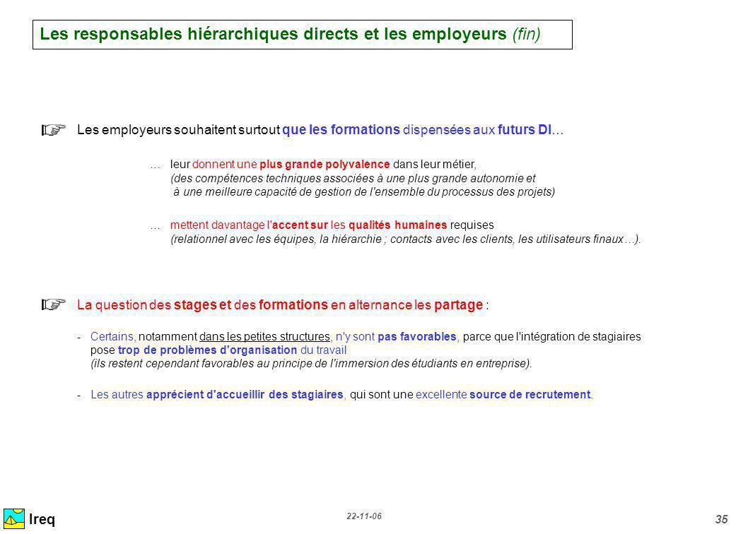 Les responsables hiérarchiques directs et les employeurs (fin)