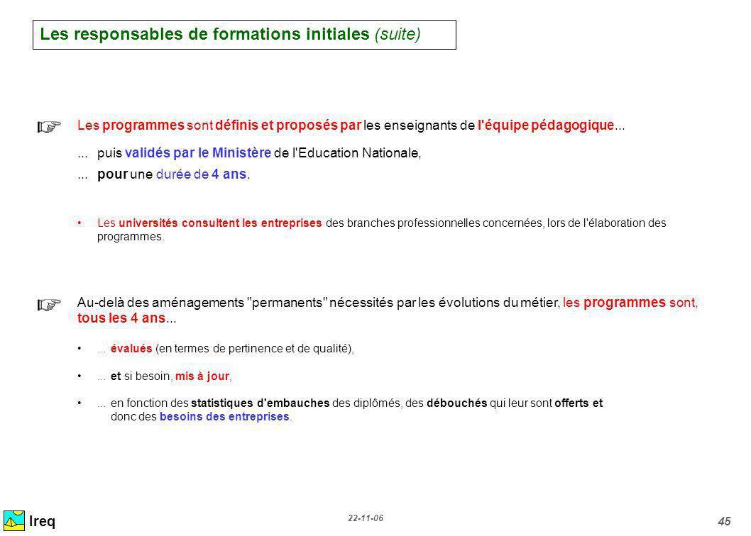 Les responsables de formations initiales (suite)