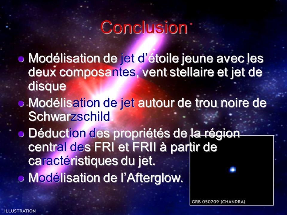 Conclusion Modélisation de jet d'étoile jeune avec les deux composantes, vent stellaire et jet de disque.