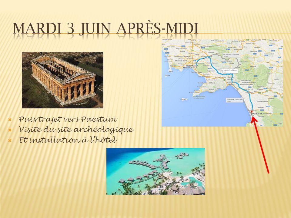 Mardi 3 juin après-midi Puis trajet vers Paestum