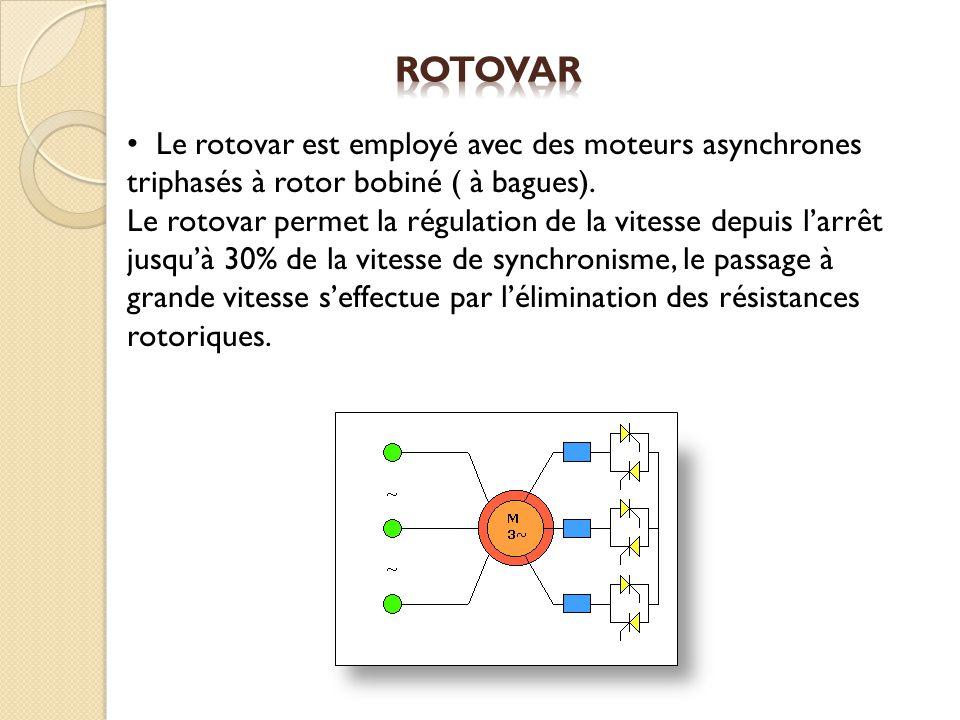 Rotovar Le rotovar est employé avec des moteurs asynchrones triphasés à rotor bobiné ( à bagues).