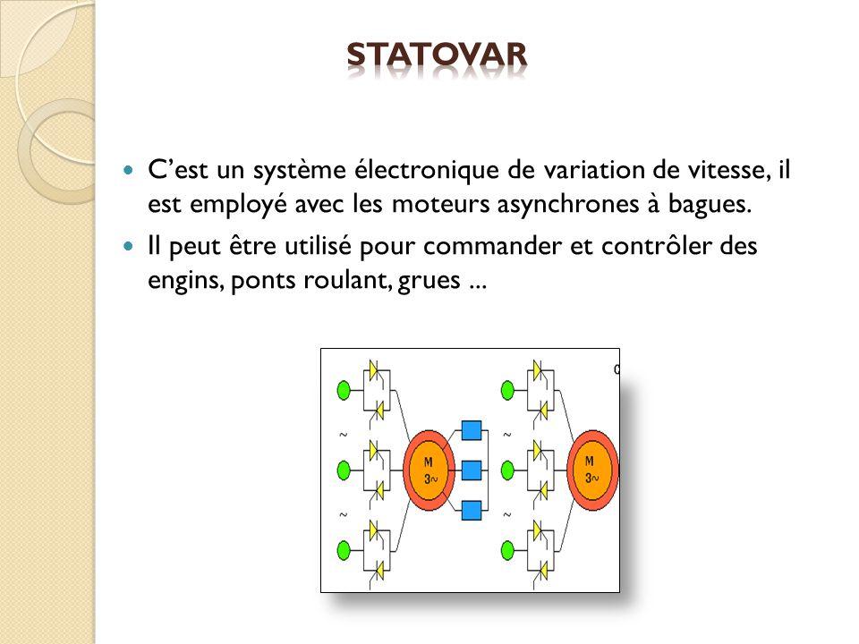 Statovar C'est un système électronique de variation de vitesse, il est employé avec les moteurs asynchrones à bagues.