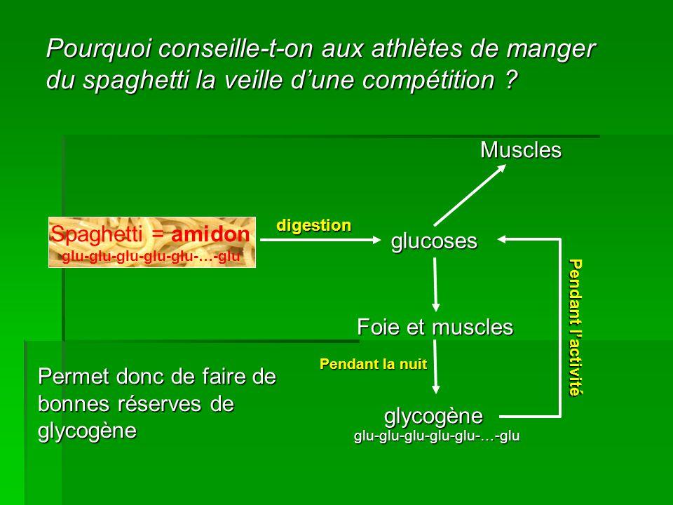 Pourquoi conseille-t-on aux athlètes de manger du spaghetti la veille d'une compétition