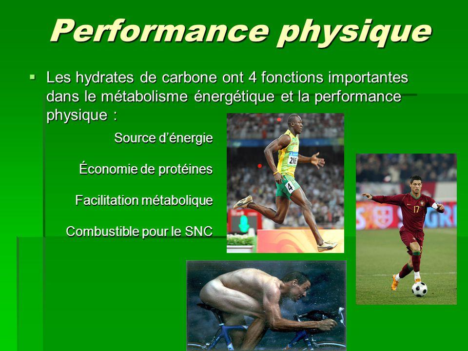Performance physique Les hydrates de carbone ont 4 fonctions importantes dans le métabolisme énergétique et la performance physique :