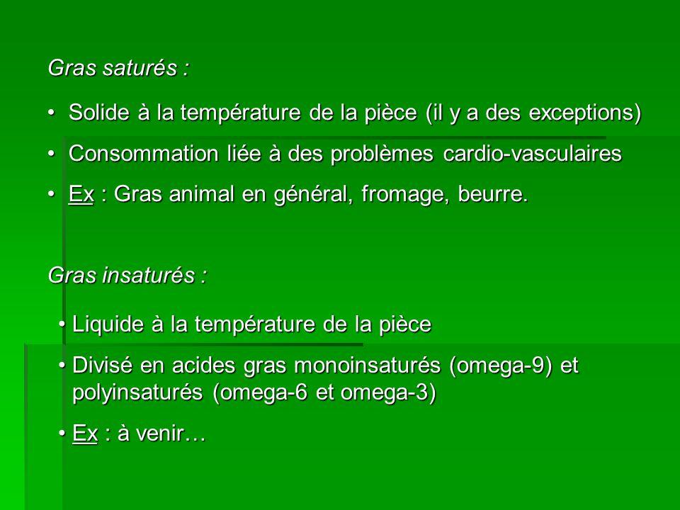 Gras saturés : Solide à la température de la pièce (il y a des exceptions) Consommation liée à des problèmes cardio-vasculaires.