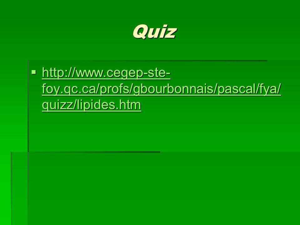 Quiz http://www.cegep-ste-foy.qc.ca/profs/gbourbonnais/pascal/fya/quizz/lipides.htm