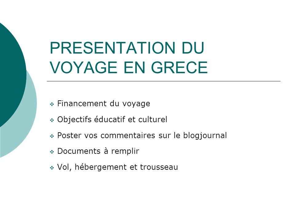 PRESENTATION DU VOYAGE EN GRECE