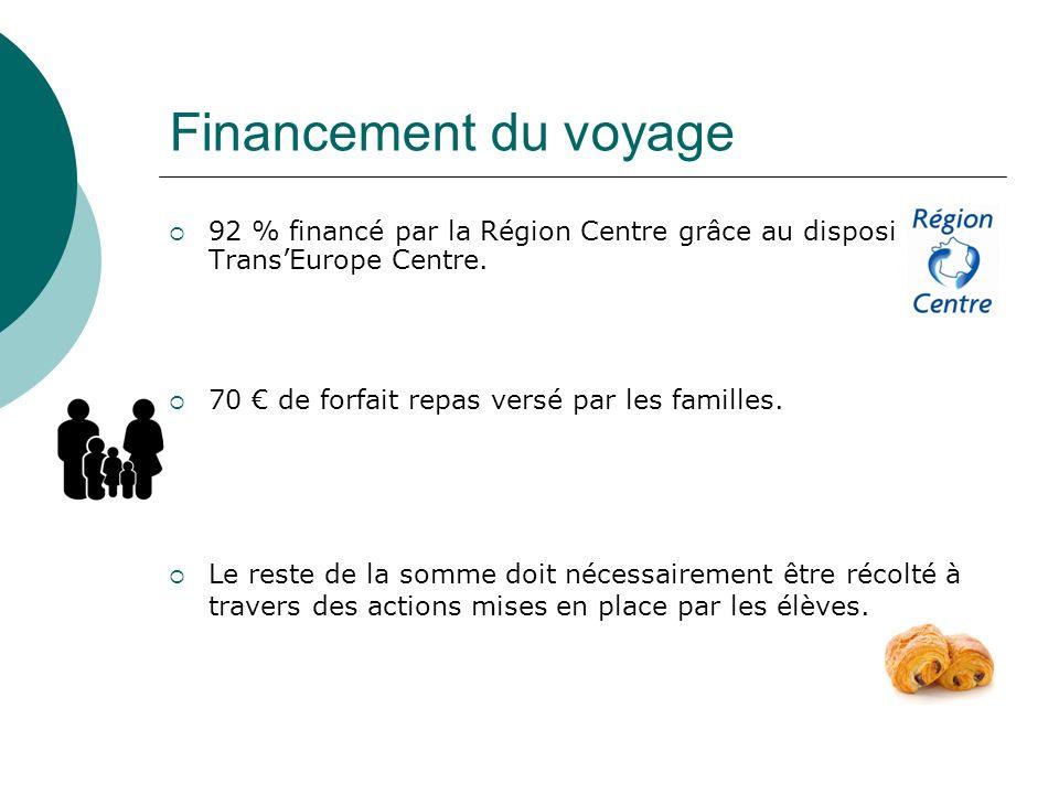 Financement du voyage 92 % financé par la Région Centre grâce au dispositif Trans'Europe Centre. 70 € de forfait repas versé par les familles.