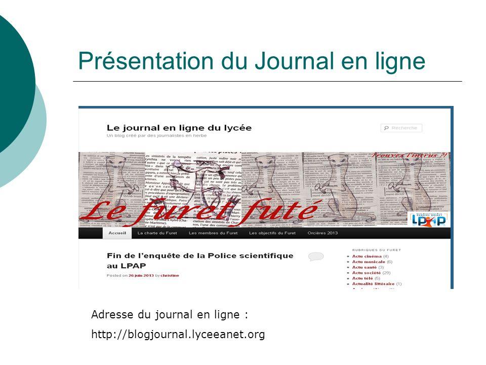 Présentation du Journal en ligne