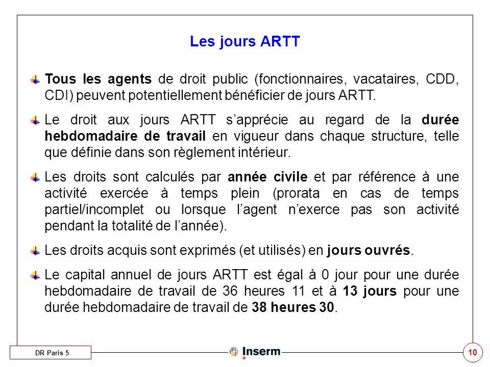 Les jours ARTT Tous les agents de droit public (fonctionnaires, vacataires, CDD, CDI) peuvent potentiellement bénéficier de jours ARTT.