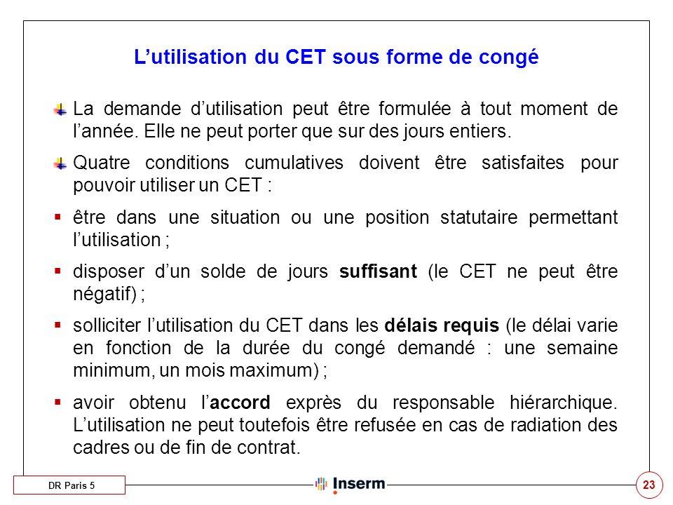 L'utilisation du CET sous forme de congé