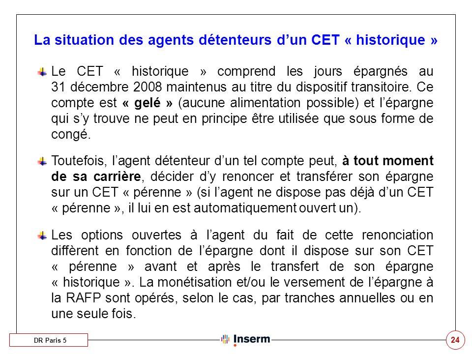 La situation des agents détenteurs d'un CET « historique »