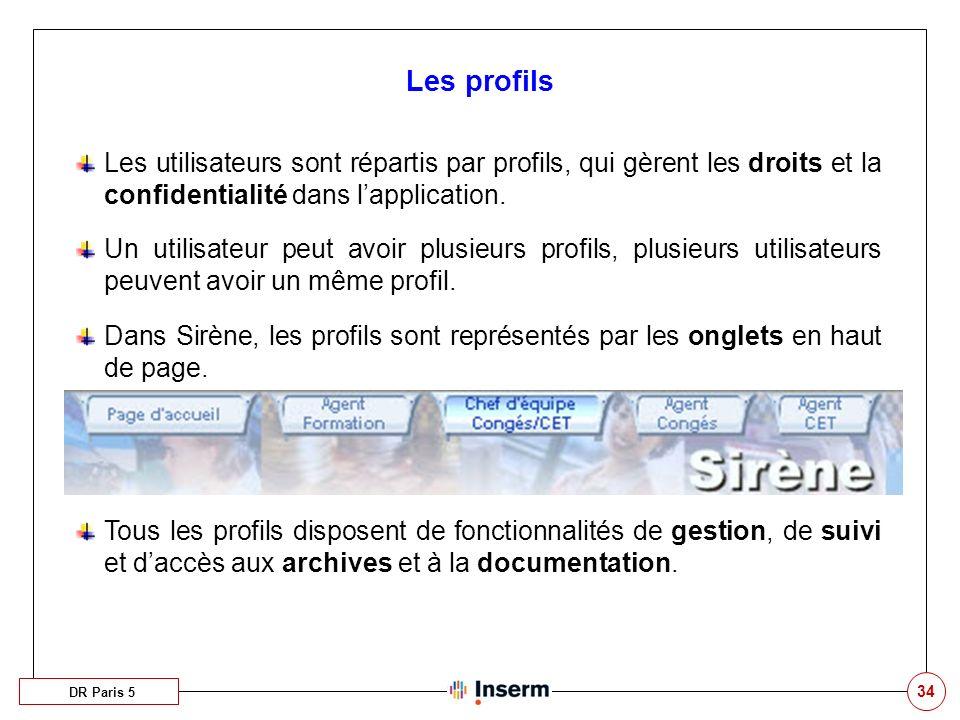 Les profils Les utilisateurs sont répartis par profils, qui gèrent les droits et la confidentialité dans l'application.