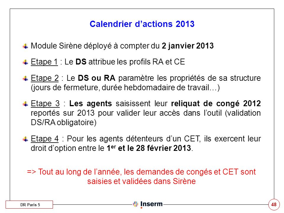 Calendrier d'actions 2013 Module Sirène déployé à compter du 2 janvier 2013. Etape 1 : Le DS attribue les profils RA et CE.