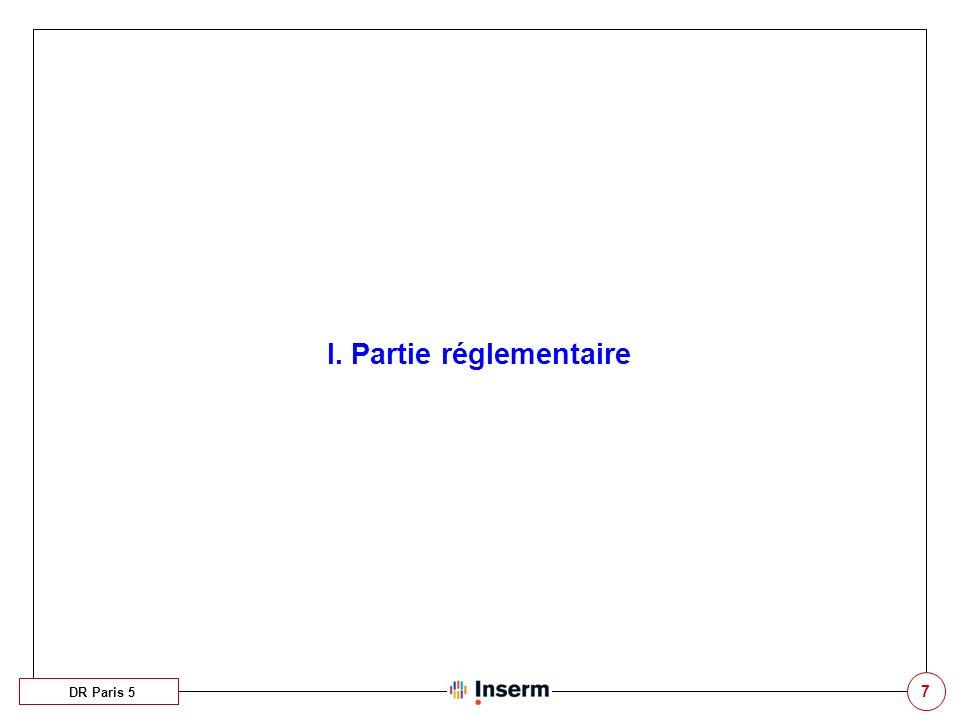 I. Partie réglementaire