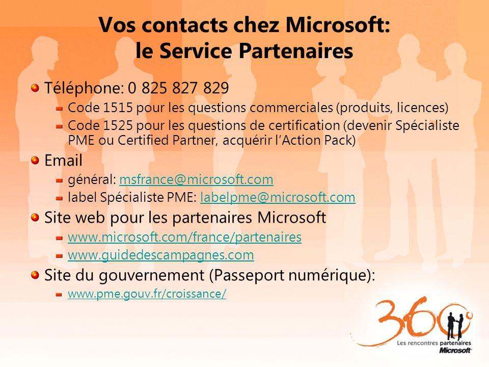 Vos contacts chez Microsoft: le Service Partenaires