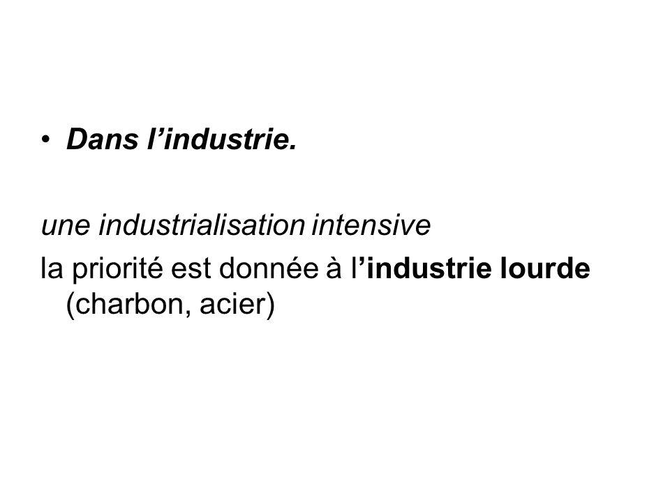 Dans l'industrie. une industrialisation intensive.