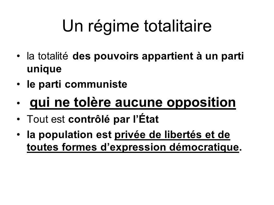 Un régime totalitaire la totalité des pouvoirs appartient à un parti unique. le parti communiste. qui ne tolère aucune opposition.