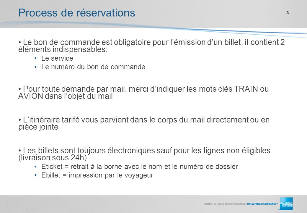 Process de réservations