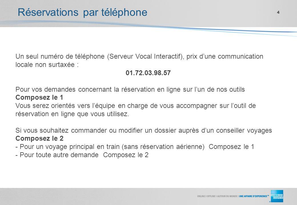 Réservations par téléphone