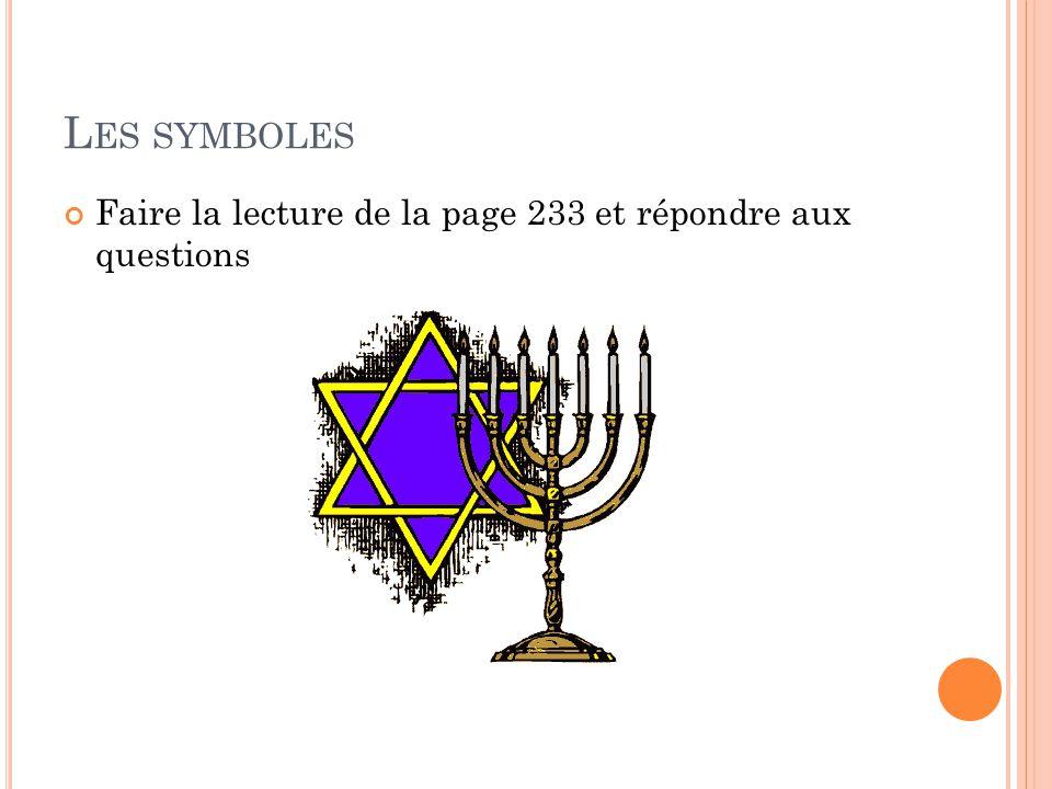 Les symboles Faire la lecture de la page 233 et répondre aux questions
