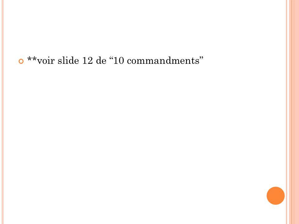 **voir slide 12 de 10 commandments