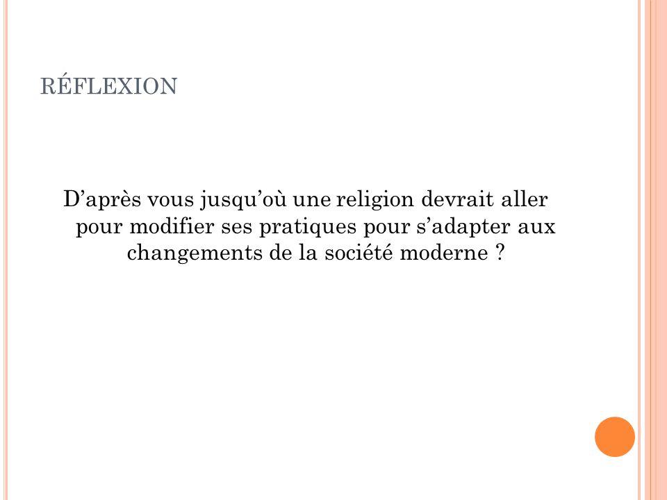 réflexion D'après vous jusqu'où une religion devrait aller pour modifier ses pratiques pour s'adapter aux changements de la société moderne