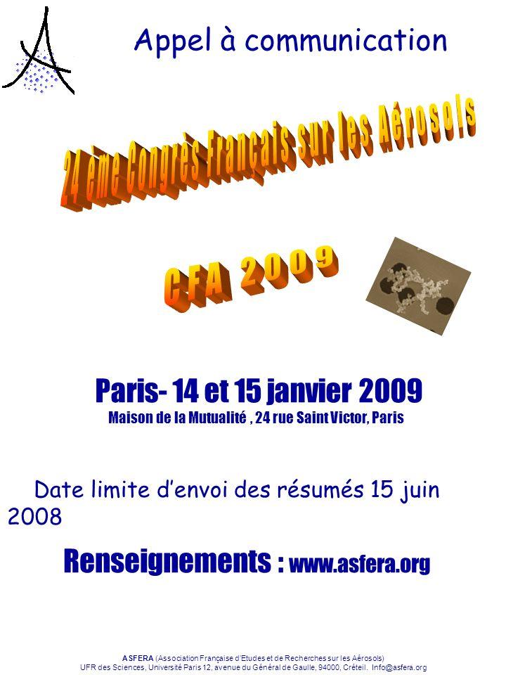 24 ème Congrès Français sur les Aérosols
