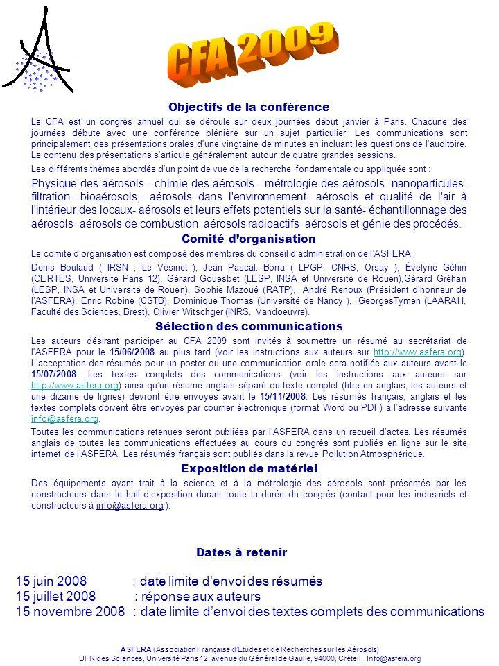 CFA 2009 15 juin 2008 : date limite d'envoi des résumés
