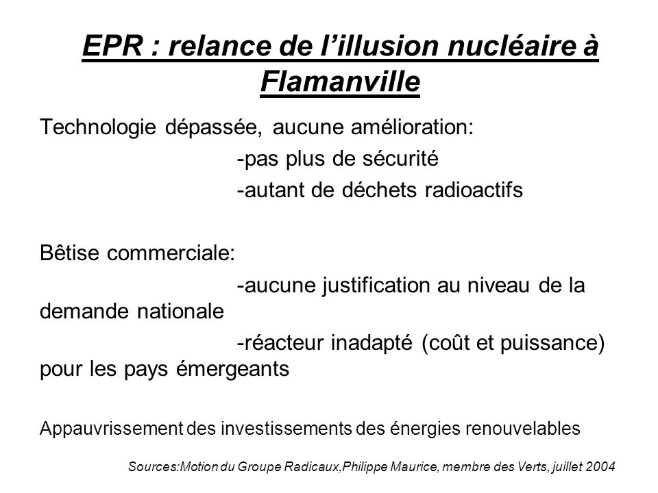 EPR : relance de l'illusion nucléaire à Flamanville