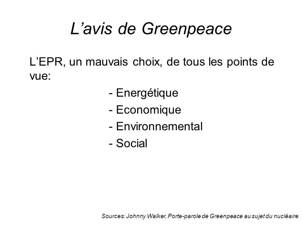 L'avis de Greenpeace L'EPR, un mauvais choix, de tous les points de vue: - Energétique. - Economique.