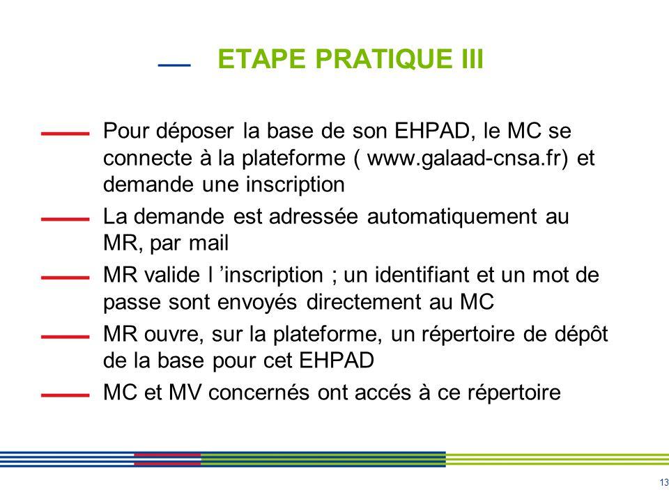 ETAPE PRATIQUE III Pour déposer la base de son EHPAD, le MC se connecte à la plateforme ( www.galaad-cnsa.fr) et demande une inscription.