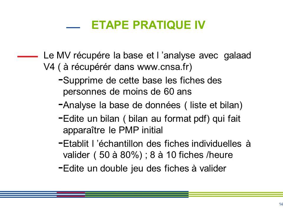 ETAPE PRATIQUE IV Le MV récupére la base et l 'analyse avec galaad V4 ( à récupérér dans www.cnsa.fr)