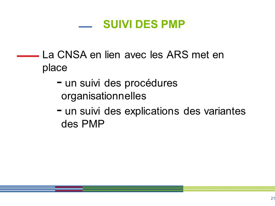 SUIVI DES PMP La CNSA en lien avec les ARS met en place