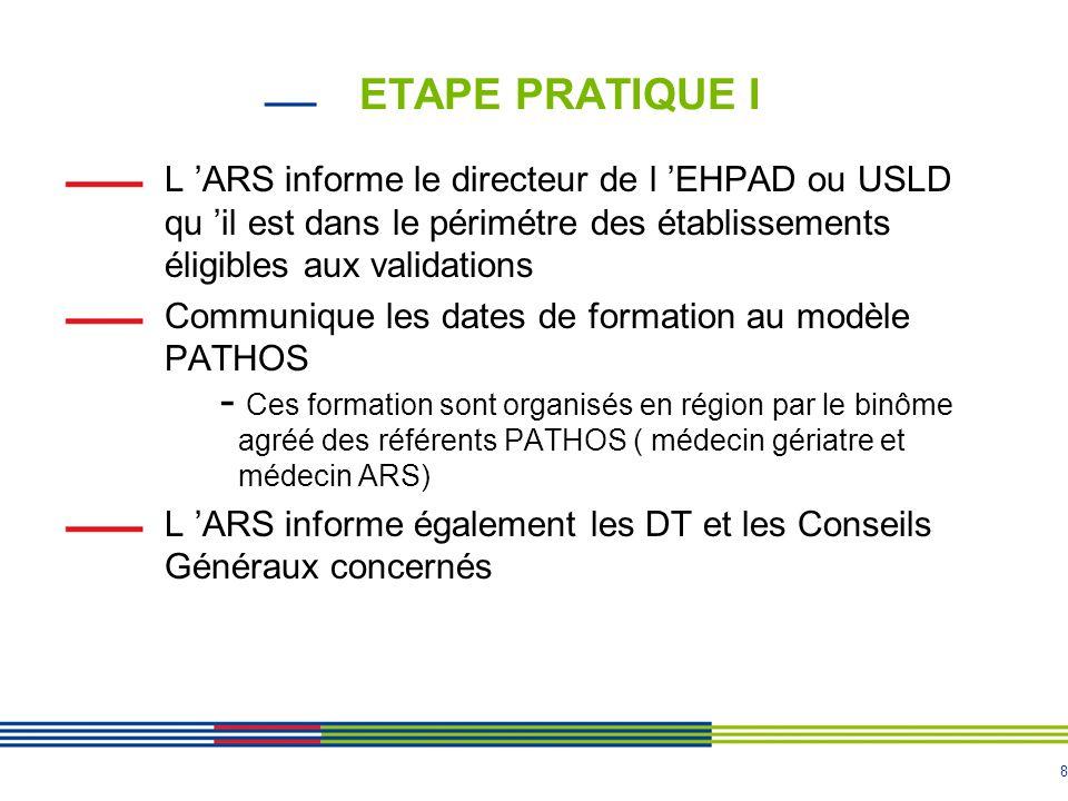 ETAPE PRATIQUE I L 'ARS informe le directeur de l 'EHPAD ou USLD qu 'il est dans le périmétre des établissements éligibles aux validations.