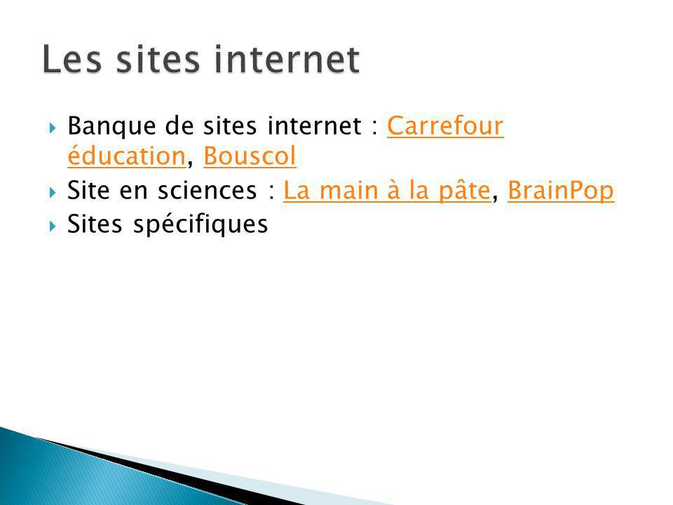 Les sites internetBanque de sites internet : Carrefour éducation, Bouscol. Site en sciences : La main à la pâte, BrainPop.