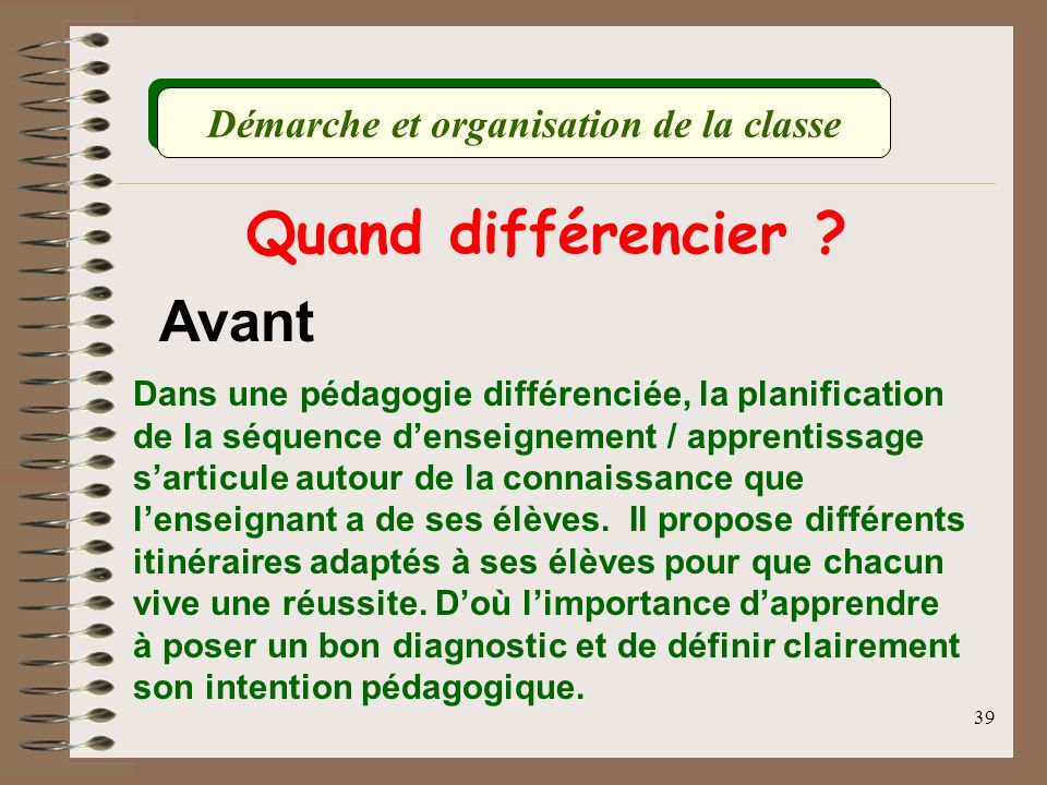 Démarche et organisation de la classe