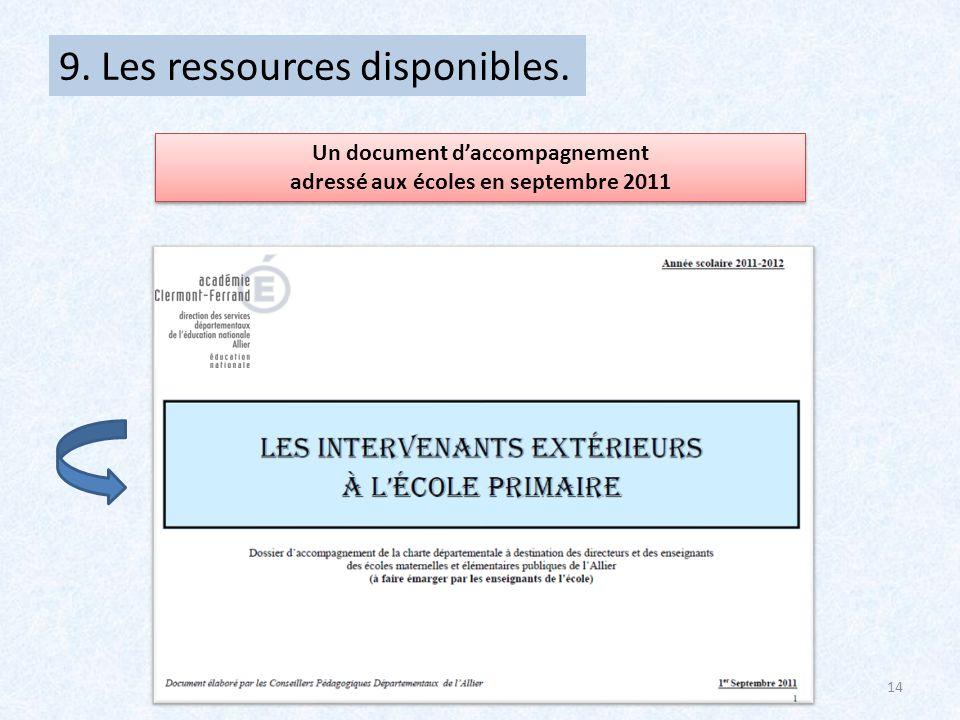 Un document d'accompagnement adressé aux écoles en septembre 2011