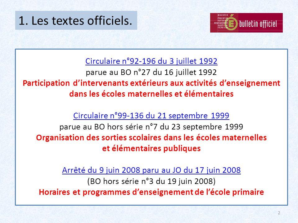 1. Les textes officiels. Circulaire n°92-196 du 3 juillet 1992